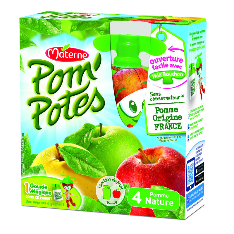 Pompotes Pomme Nature 4x90g