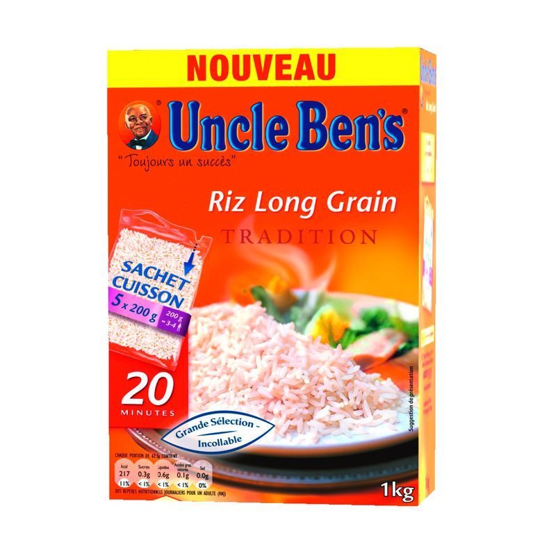 Uncle ben's Riz Long grain Sachet Cuiss 1kg