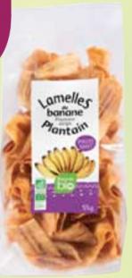 Lamelles de banane plantain bio sucrées