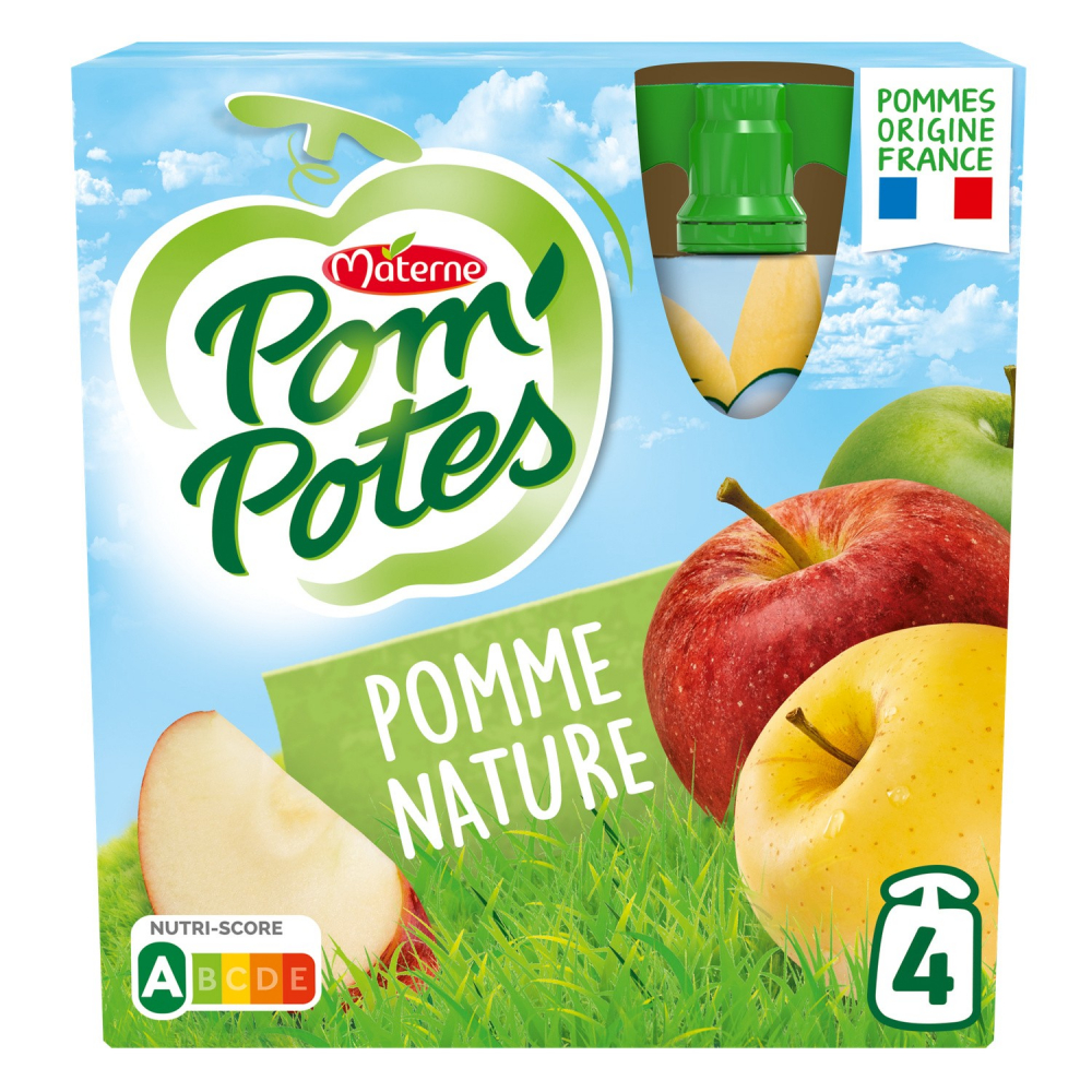 Pompotes Pomme Nature 4x90g